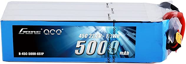 Gens ace 6S 5000mAh 45C 22.2V LiPo Battery Pack with EC5 Plug for Mikado LOGO500, Align T-REX 550 600E 700E GAUI X5 Outrage 550 Hirobo SDX Multirotors EDF Jets 600 700 Size Helicopters