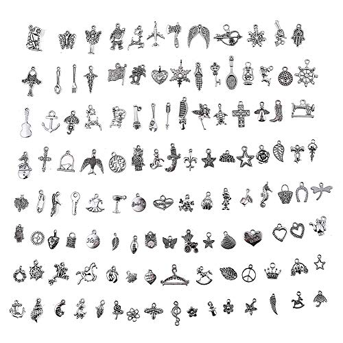 HYBEADS Silver Pewter Charms Pendants Mega Mix DIY for Jewelry Making and Crafting 100-Piece
