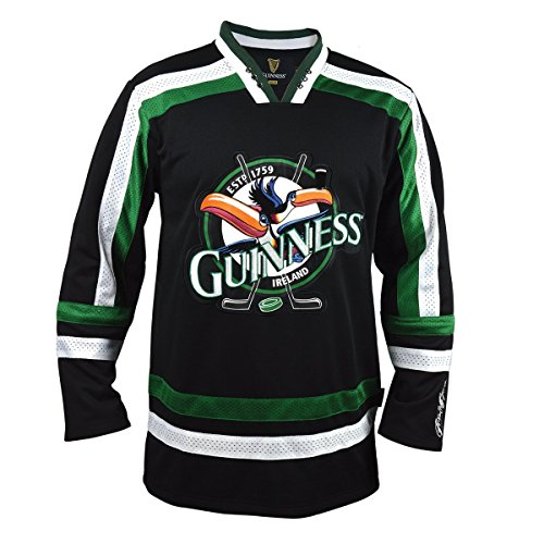 Guinness Toucan Black, Green and White Hockey Jersey, XXXX-Large