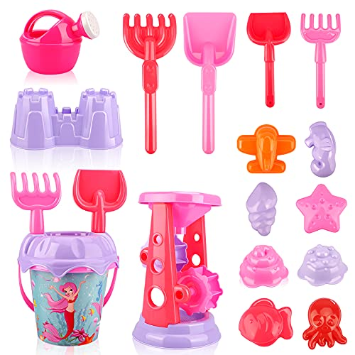 Allaugh Beach Toys for Toddlers, 17pcs Sandbox Toys with Sand Wheel, Mermaid Bucket, Sifter, Shovel, Rake, Watering Can, Animal & Castle Molds in Reusable Bag, Outdoor Games for Boys, Girls, Toddlers