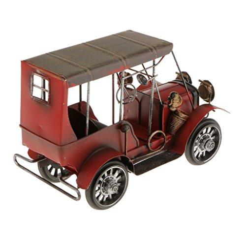 Artisanat Fer Métal Vintage Classic Car Model Forgé Modèle Voiture Jouet Décor Maison Bureau - Rouge