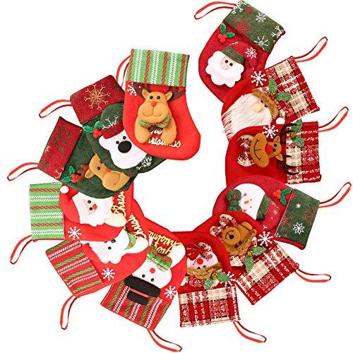 Juego de 12 medias navideñas de 6 pulgadas Medias navideñas 3D personalizadas Medias navideñas pequeñas Calcetines navideños para chimenea Calcetín colgante Mini calcetín navideño Adorno para árbol