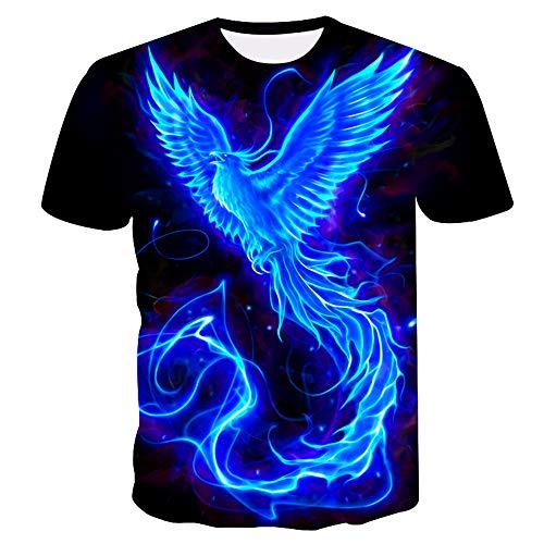 Herren Kurzarm T-Shirt 3D Flying Phoenix Print Sommerclub Unisex Street Teenager Casual Halbarm T-Shirts Jugendurlaub Strand Hip Hop Sport, XXL