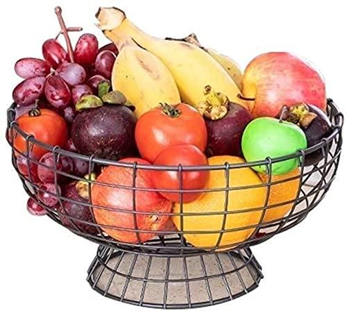 YANSJD Cesta de Frutas y Verduras, Plato de Frutas para Aperitivos, Plato de cerámica, Cuencos, vajilla, Cesta de Frutas de Metal Negro, multifunción, Sala de Estar, Mesa de Centro, Estante de