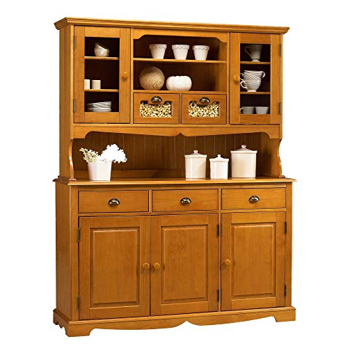 ACTUAL DIFFUSION Windsor Grand Buffet Vaisselier Pin Miel 5 Portes 5 Tiroirs, 42x146x186 cm