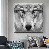 Carteles e impresiones de animales modernos pintura en lienzo arte de pared cuadros de pared de lobo abstracto para sala de estar Cuadros decoración del hogar 30x30 CM (sin marco)