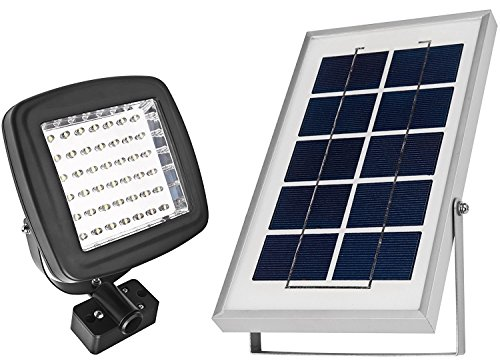 MicroSolar 180 LUMEN - NATURAL WHITE (NOT BLUISH) - Solar Flood Light - Automatically Working from Dusk to Dawn at Good Sunshine - ALUMINUM Panel - Ground / Wall Mounted - 2 AXES Adjustable Lamp - FL2