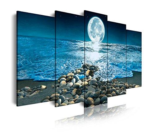 DekoArte 400 - Cuadros Modernos Impresión de Imagen Artística Digitalizada | Lienzo Decorativo Para Salón o Dormitorio | Estilo Paisaje Nocturno con la Luna iluminando la Playa | 5 Piezas 150x80cm