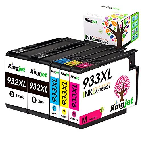 Kingjet 932 XL 933 XL Cartucce Compatibili HP 932XL 933XL Compatibile con HP Officejet 6600 6700 6100 7612 7610 7110, Confezione da 5 (2 Nero,1 Ciano,1 Magenta,1 Giallo)