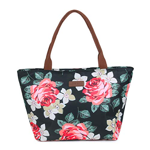 YOUTH UNION Lunch Bag for Women Aduts Floral Tote Insulated Lunch Bag Cooler Bag Lunch Organizer for Working Picnic Beach Sporting(Size 2)