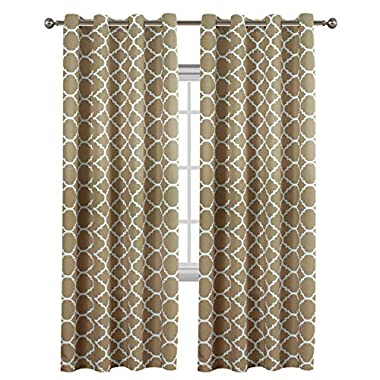 Flamingo P Light Blocking Moroccan Insulated Blackout Drapes Printed Window Curtains for Living Room, Grommet Top, Set of Two Panels, Each 84 by 52- Latte/Cappuccino