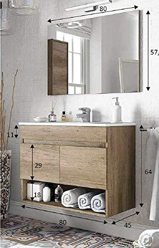 Salone Negozio Online Kit Mobile Bagno Dakota 2 Ante cm.80x45x64h Rovere con Lavabo e Specchio Inclusi