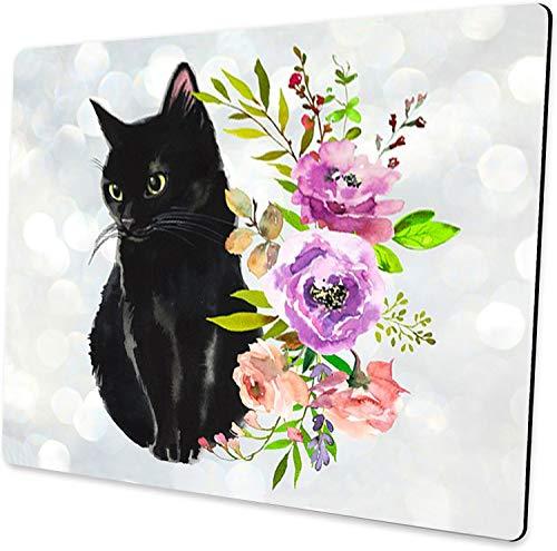 Black Cat Floral Watercolor Mouse Pad Cute Cat Lover Gift Desk Accessories Decor for Women Computer Mousepad School Supplies