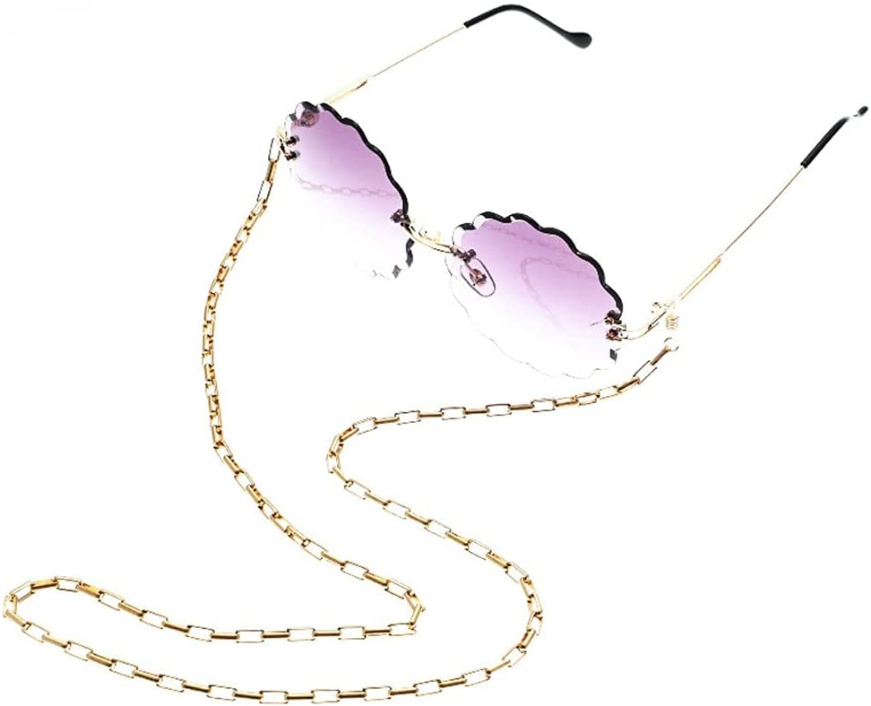 NJBYX Glasses Chain Holder For Women Metal small oval Chain For Glasses Lanyard Strap Sunglasses Cords Casual Glasses Accessories (Color : A, Size : Length-70CM)