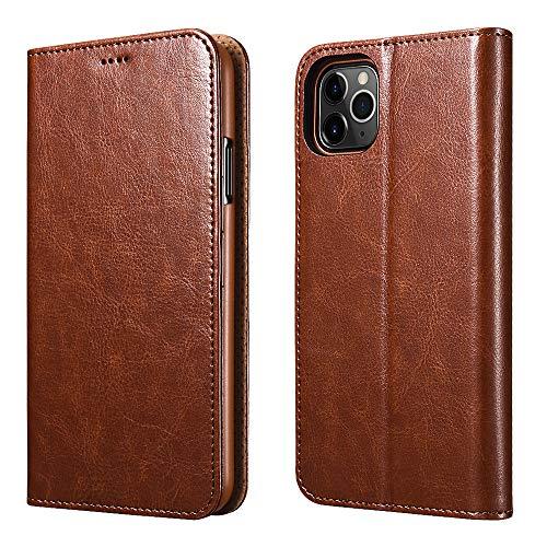 ICARER iPhone 11 Pro Ledertasche Hülle, Wallet Ledertasche Tasche Handytasche Leder mit Standfunktion und Karte Halter und Bargeld Platz Tasche für Apple iPhone 11 Pro 5.8 Zoll (Braun)