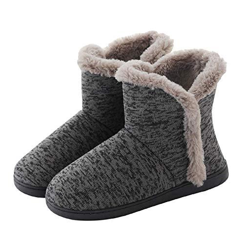 AONEGOLD Hausschuhe Hüttenschuh Hohe Gefüttert Hüttenstiefel rutschfest Winter Pantoffeln für Unisex-Erwachsene(Grau,43-44 EU)