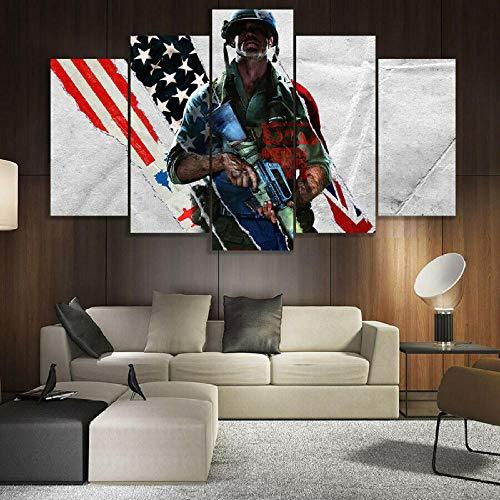 104Tdfc 5 Pieza Cuadro en Lienzo 150x80CMCall of DutL Black Ops Guerra Fría Impresiones sobre Lienzo 5 Piezas Lienzos Moderno Arte Sala Decoración Regalo