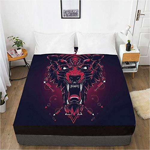 lhmlyl Sábanas Protector Digital del colchón de la sábana de la impresión 3D Animal 130-Negro-F_El 152x203x40cm