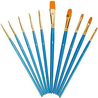 Lictin Pinceaux Peinture Acrylique - 10 Nylon Pinceaux Artiste Plume Lisse, Pinceaux de Peinture à l'huile pour Aquarelle,...