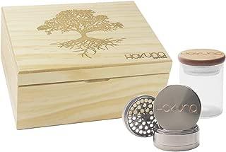 Hakuna Supply Natural Engraved Stash Box Combo- 1/8th Glass Jar w/Freshness Sealed Engraved Bamboo Lid + 4 Pc. Gunmetal Hakuna Sharp Shredder (Tree of Life, Natural Pine)