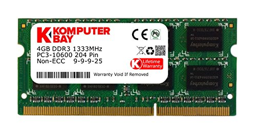 Komputerbay 4GB SODIMM DDR3 (204 pin) 1333Mhz PC3 10600 4 GB (9-9-9-25)