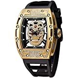 Unique Men's Skull Watches, Rectangle Skeleton Dial Sports Quartz Analog Mens Wrist Watches,Cool Diamond Big Face Skull Watches for Men (Diamond Gold)