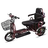 Qfzfei Scooter Eléctrico Minusválido, Desmontable, Manillar Plegable, Motor De 350 W, 20 Km/h, Adecuado ParaPersonas con Movilidad Reducida, Discapacitados, Rojo 30KM