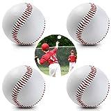 HIMETSUYA 4 Pièces Sports Baseball Game Jeu dédié Balle Débutant Balles de Baseball Jeunesse Softball Faite à la Main Baseballs PVC Caoutchouc Intérieur Supérieur Souple Rigide Baseball Blanc