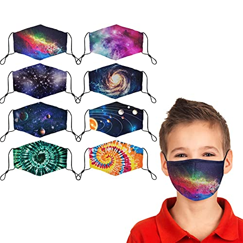 Kids Cloth Face Mask Reusable Washable Cute Children Face Masks Adjustable Galaxy Tie-Dye Masks for Girls Boys Pack of 8