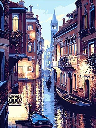 YEESAM ART Neuheiten Malen nach Zahlen Erwachsene Kinder, Venedig-Wasser-Stadt-Nachtansicht 40x50 cm Leinen Segeltuch, DIY ölgemälde Weihnachten Geschenke (Nachtsicht, Mit Rahmen)