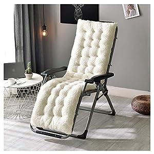 GELing Cojín de Repuesto para Tumbona de Interior y Exterior, reclinable, cojín Grueso,Blanco,130X50X12cm