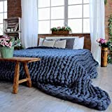 GAXQFEI Chunky Knit Throw Blanket Bulky Knitted Blanket Handwoven Bed Blankets Cable Knit Blanket Thick Yoga Blanket Beautiful Home Decor White 80 80Cm,Navy Blue,5050Cm(2020In)
