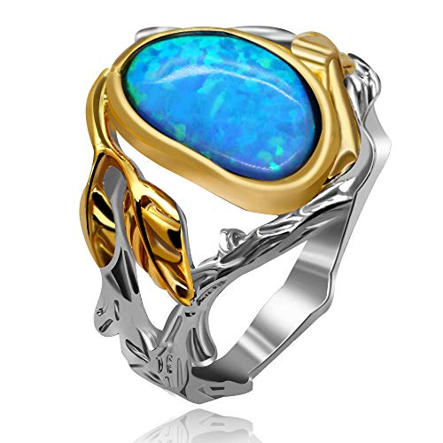 Uloveido Girl's Novelty Statement Leaf Tree Ring with Big Lab Created Blue Fire Opal Solitaire Rings Wedding Anniversary Valentine's Day Gift for Women Girl (Size 6) RA503