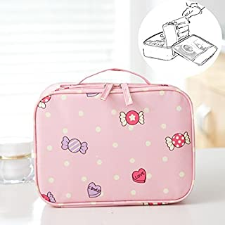 LANGUGU Waterproof 2 Layer Large Capacity Cosmetic Bag Portable Makeup Brush Organizer Kit Multifunctional Vacation Travel Home Toiletry Cute Printed Pouch for Little Young Girl (Candy)
