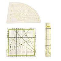 セクター、長方形、スクエア3枚 裁縫用定規 手芸用品 服装設計 測定工具 硬質プラスチック製