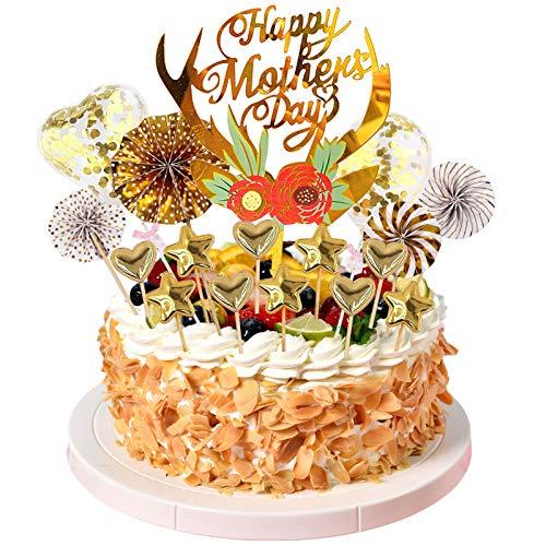 17 Stück Muttertag-Kuchenaufsätze, Muttertag-Cupcake-Topper, mehrfarbige Acryl-Blumen-Kuchenaufsätze für Mutter, Mutter, Geburtstag, Kuchendekoration