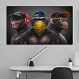 WFLWLHH Bilder Leinwandbild - Leinwanddrucke 3 Affen Poster
