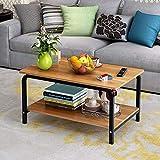 Rectangular Coffee Table with Storage Shelf (Wood)