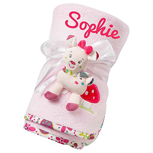 Fehn 076868 Baby-Kuscheldecke Sweetheart Rehkitz 100x75cm mit Namen bestickt