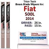 Beam Wiper Blades for 2014 Fiat 500L Set Trico Tech Beam Blades Wipers Set Bundled with MicroFiber Interior Car Cloth