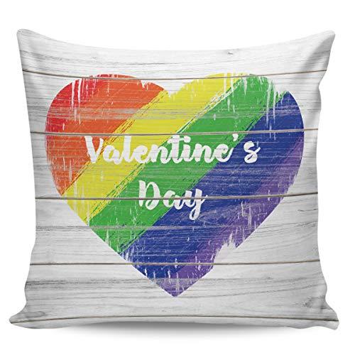 Scrummy, federa per cuscino da 61 x 61 cm, per San Valentino, da sogno, arcobaleno, con venature del legno, decorazione quadrata per la casa