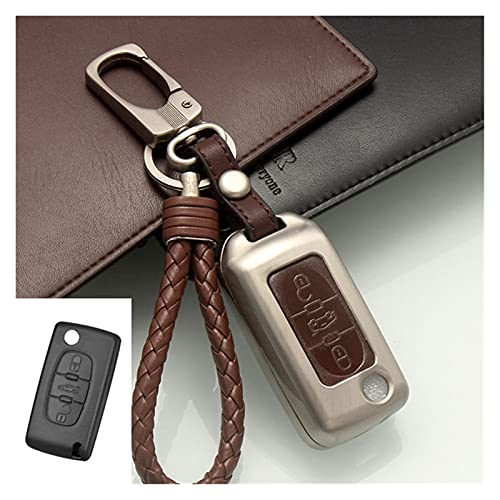 GIS Aleación de Zinc + Cubierta DE Coche Coche Fob Fob Funda remota Caja Ajuste para Peugeot 206 207 208 306 307 308 407 Fit para Citroen C4 C2 C3 C6 (Color Name : 3 Buttons Brown)
