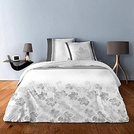 Alpes Blanc Housse de Couette 100% Coton - 220x240 + 2 taies d'oreiller 65x65 pour lit 2 Places (Feuilles d'érable)