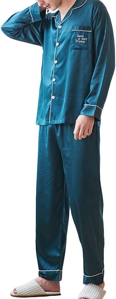 Nunubee Faux Silk Pajamas Set Solid Color Long Sleeve Sleepwear Loungewear with Top & Pants/Bottoms Man - Dark Green - XXL