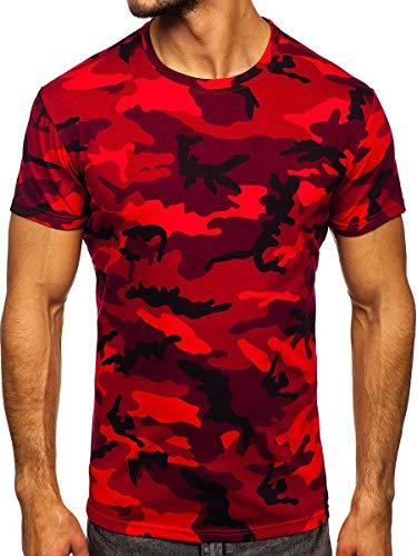 BOLF Hombre Camiseta de Manga Corta Escote Redondo Camuflaje T-Shirt Crew Neck Entrenamiento Deporte Estilo Diario J.Style S807 Rojo XL [3C3]