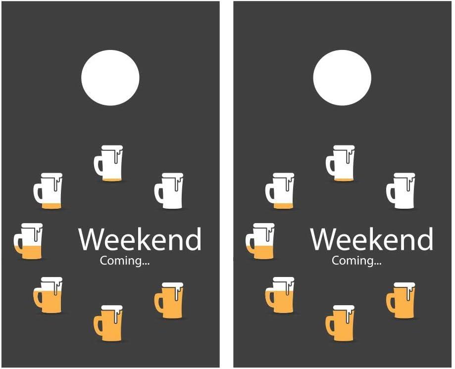 JS Artworks Beer Weekend Coming Cornhole Board Joke Funny Oakland Mall Vinyl Branded goods