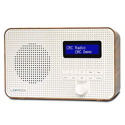 LEMEGA DR1 Portable DAB DAB+ and FM Digital Radio,Handheld DAB Radio,Dual Alarms Clock,Snooze Sleep Timer,20 Preset Stations,Headphones-Out,LCD Display,Batteries Portable or Mains Powered - Walnut