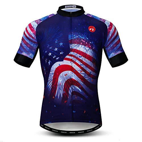 Men's Cycling Jerseys Tops Biking Shirts Short Sleeve Full Zipper Bike Clothing USA Blue L