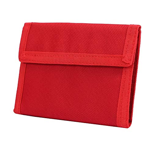 Trifold Canvas Outdoor Sports Wallet for Kids - Front Pocket Wallet with Zipper (Red2)