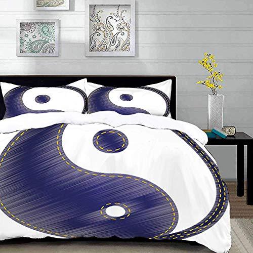 ropa de cama: juego de funda nórdica, Ying Yang, figura espiritual asiática de YIn Yang texturizada en estilo Jean, diseño de par de equilibrio y armonía, juego de funda nórdica de microfibra